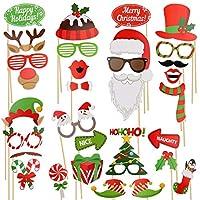 sugoitiクリスマス写真ブース小道具32Pieces DIYキットdress-up装飾の新しい年パーティー