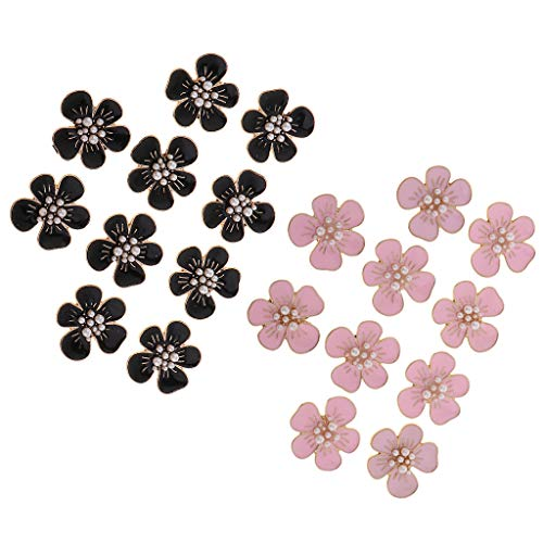 chiwanji 20 Unids Perla Flor Botón Flatback Adornos Joyería de Moda DIY