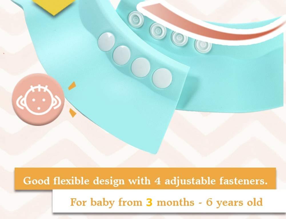BONPEIPEI Baby Shower Shampoo Cap 2Pcs Adjustable Safety Eva Bath Visor Waterproof Soft Funny Hair Washing Bathing Hat for Girls, Boys, Infants, Children, Kids and Toddlers-Pink/Green