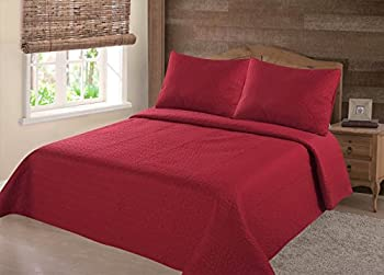 GorgeousHomeLinen  NENA  2/3-Piece Quilt Stippling Stitches Pattern Hypoallergenic Comfortable Comfort Bedspread Bed Bedding Coverlets Cover Set with Pillow Cases  Queen Red