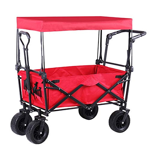 Trolley Carro, Compra Plegable Ligero 2 En 1,Carro De Jardín con Ruedas Todoterreno, Carro Plegable para Carretilla Servicio Pesado Delanteras Giratorias 360 °, Carga hasta 100 Kg,Rojo