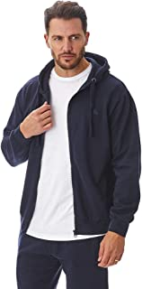 Iron Mountain Mens Reclaimed Yarn Eco Friendly Anti Pil Flexible Comfortable Soft Fleece Hooded Top Hoody, Navy Blue, Large