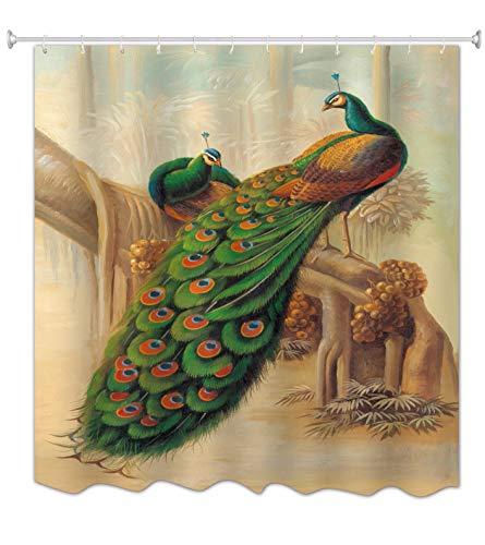 A.Monamour Pareja De Aves De Pavo Real con Hermosas Plumas De Cola Pintura Al Óleo Cuadro Impreso Cortinas De Baño De Poliéster De Baño Cortinas De Ducha para El Baño Resistente Al Moho 150x180 cm