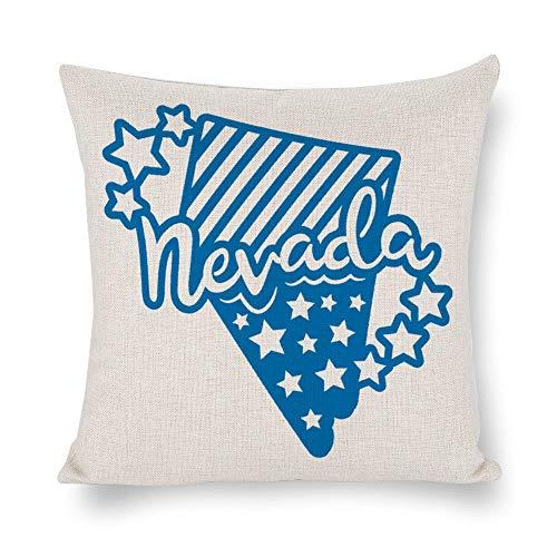 Funda de cojín Nevada con cita azul, 4 de julio, funda de almohada, lino rústico decorativo, funda de almohada lumbar decorativa para silla, habitación, sofá, coche, decoración del hogar, regalo de inauguración de la casa, 45 x 45 cm lygdbc7joep1