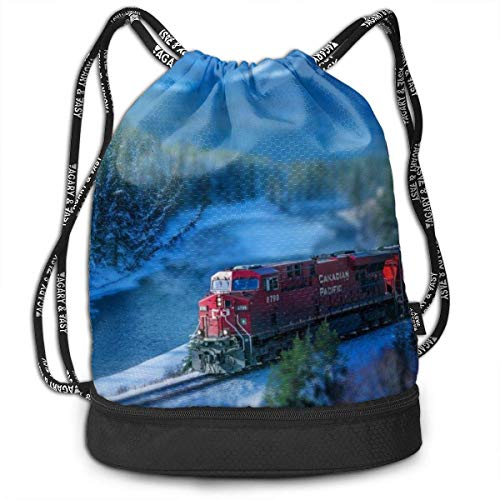 zhangyuB Steam Train and Railway Forest Sac de Cordon Swim Sport Cinch Sackpack Large Capacity Beam Backpack, Home Travel Storage Use Gift for Men & Women, Girls Boys
