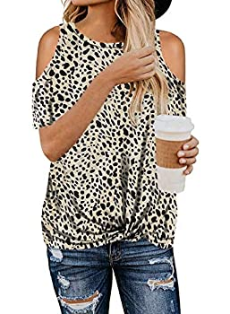 Dokotoo Womens Summer Crewneck T Shirt Leopard Print Tops Short Sleeve Loose Casual Cold Shoulder Twist Blouses Black M