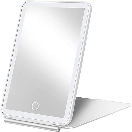 化粧鏡 女優化粧ミラー LUXSURE LED 明るさ調節可能 折りたたみ コンパクト 卓上スタンドミラー USB充電式 3色調光 メモリー機能 持ち運びに便利な鏡