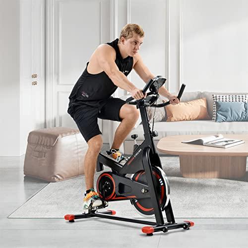 WZFANJIJ Bicicleta Spinning Fitness Bici Estática Indoor Volante Inercia 10KG Resistencia Ajustable Monitor LCD Gimnasio Ejercicio y Entrenamiento Casa Hombre Mujer,Red