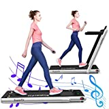 GYMAX 2 in 1 Folding Treadmill, 2.25HP Under Desk Electric Pad Treadmill, Portable Walking Jogging Running Machine, Motorized Flat Treadmill with Audio Bluetooth Speakers, Remote Controller (Silvery)
