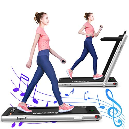 GYMAX 2 in 1 Folding Treadmill, 2.25HP Under Desk Electric Pad Treadmill, Portable Walking Jogging Running Machine, Motorized Flat Treadmill with Audio Bluetooth Speakers, Remote Controller (Slivery)