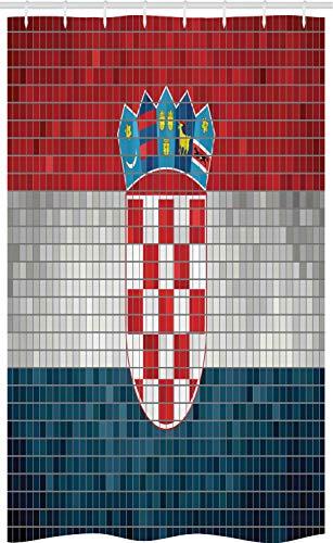 ABAKUHAUS Kroatien Schmaler Duschvorhang, Flagge mit Mosaik-Quadraten, Badezimmer Deko Set aus Stoff mit Haken, 120 x 180 cm, Vermilion Pale Grau Seeblaue
