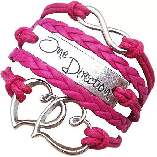 Legisdream Pulsera Musical multicable con símbolo de corazón y Color Fucsia Infinito One Direction