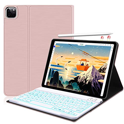 """New iPad Pro 11 Keyboard Case 2020 & 2018[Support Apple Pencil Charging] Detachable Wireless/BT Keyboard with Folio Protective Smart Cover for iPad Pro 11"""" 2nd Gen/1st Gen,Auto Sleep/Wake-Rose Gold"""
