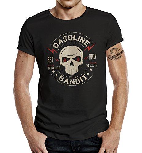 Gasoline Bandit- Camiseta manga corta para ombre, negro, XXXL