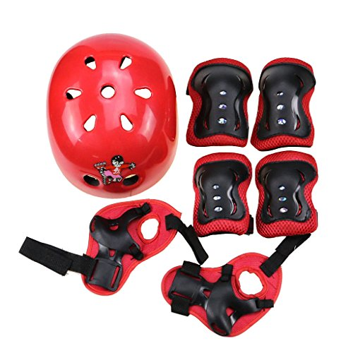 TDPRO Kids Adjustable Sports Protective Gear Helmet Knee Pads Elbow Wrist Set for Skateboarding Biking Riding Cycling (Red)
