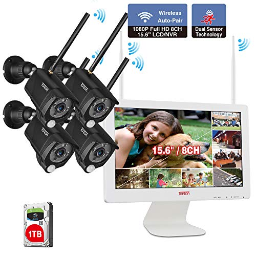 1080P Wireless NVR bewakingssysteem 15 inch monitor + 4 cam + 1 dB.