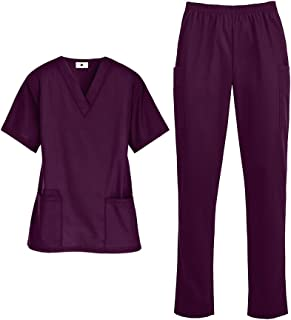Women's Medical Uniform Scrub Set – Includes Top and Pant (XS-3X, 14 Colors)