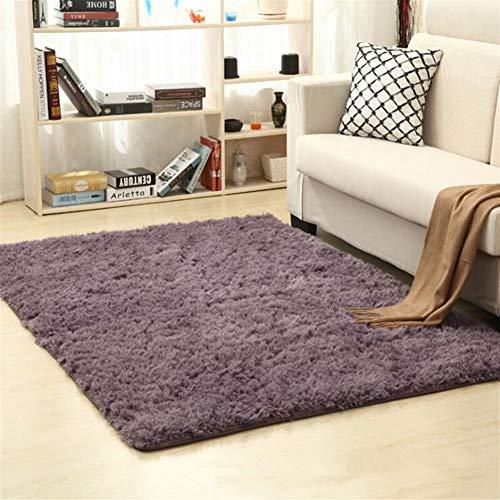 Jnszs Alfombra suave de piel sintética antideslizante para salón, dormitorio, hogar (color: gris púrpura, tamaño: 80 cm x 160 cm)