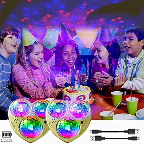 KisMee LED Starry Lights Built-in Battery,Sound Activeated Star Party Light 7 Modes RGB Disco Ball Magnet Fixed for Birthday Party Home Karaoke Camping Xmas. (2 Packs)