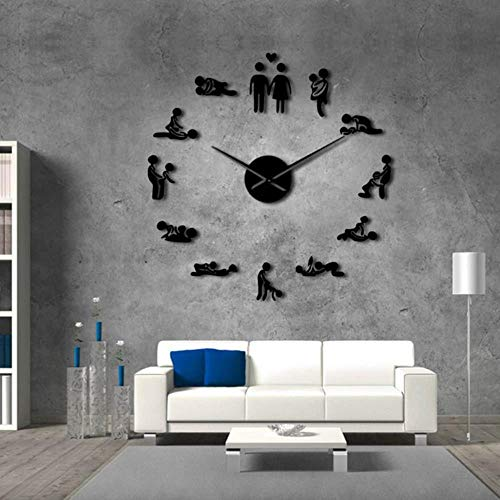 LHSX Sexy Bachelorette Kama SutraAdult Room Decorative Giant Wall Clock,Black