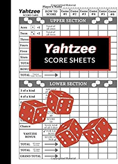 Yahtzee Score Sheets: 100 Pages Yahtzee Score Cards, Game Record Score Keeper Book Pad, Large Print Size 8.5 x 11 in Yardzee Dice Game