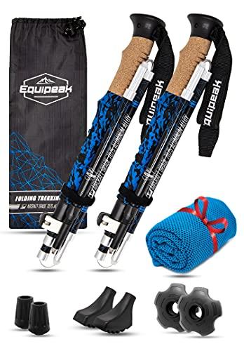 Collapsible Folding Hiking & Trekking Sticks - 2 Aluminum Walking Poles with Real Cork & EVA Handle Grip Set - Ultra Strong Locking - for Men & Women (Blue, S (5'0