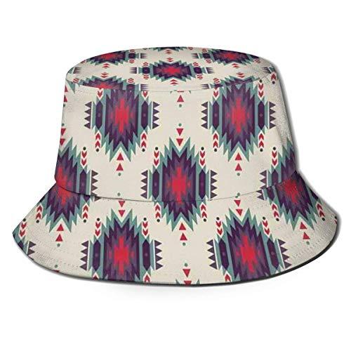 XCNGG Sombrero de Pescador Unisex para Adultos, Colorido, étnico, primitivo, folclórico, Estilo Cubo, Gorra para el Sol Plegable, máxima protección para los Rayos UVA, Pesca, Jardin