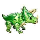 Polka Dot Sky Globos digitales de helio grandes de papel de aluminio de dinosaurio para fiesta de cumpleaños, fiesta de baby shower, decoración temática de tiranosaurio (triceratops verde)
