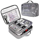 Clear Electronics Organizer, Matein Travel Cable Organizer Bag Large Cord Organizer Case with Double Layer Portable Storage Bag for Electronic Accessories, Charger, Ipad Mini, Tech Gifts for Men