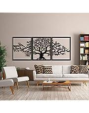 Levensboom, metaal, wanddecoratie, stamboom, 3D, metalen sculptuur voor aan de muur, voor thuis, op kantoor, in de slaapkamer, woonkamer of buiten, groot, 3 stukken (ieder 48x 60cm)