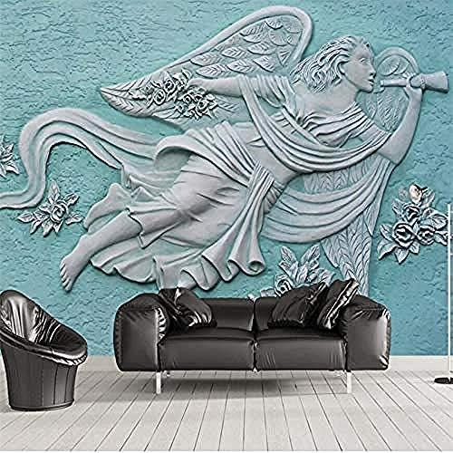Papel pintado verde mural grande personalizado de la pared del fondo de la flor hermosa del ángel de Pared Pintado Papel tapiz 3D Decoración dormitorio Fotomural sala sofá pared mural-250cm×170cm