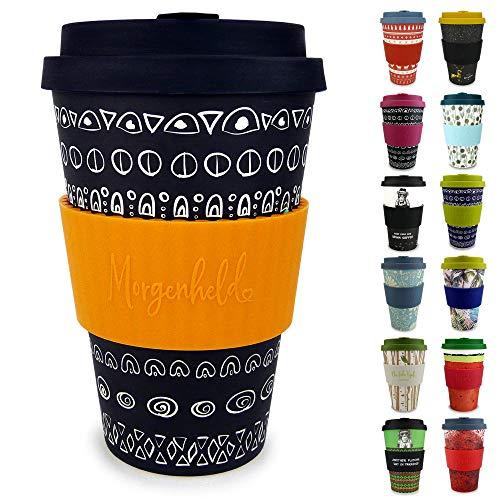 Morgenheld Dein trendiger Bambusbecher | Coffee-to-Go-Becher | Kaffeebecher mit Silikondeckel und Banderole in coolem Design 400 ml Füllmenge (Blacky - sun)
