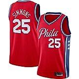 ZDFG Delicate 2020/21 Season Hombres Baloncesto Camiseta Philadelphia 76ers Sports Leisure Breathable #25 Training Ben Simmons Clothes - Rojo