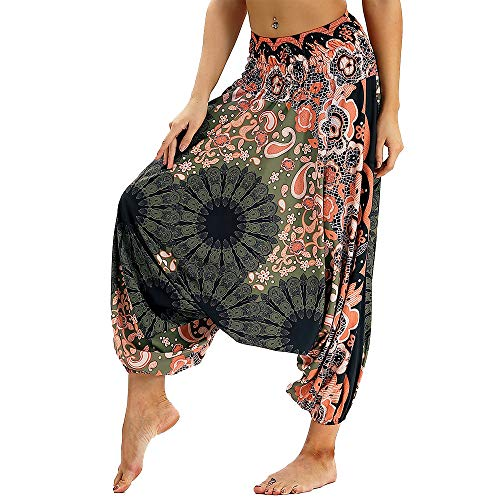 dilake Pantalones de Yoga Boho para Mujer, Pantalones de harén, Pantalones de Playa Casuales fluidos Hippie Talla única