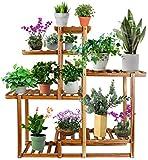 Tiered Wood Plant Stand, Astory 4 strati, 9 vasi per piante, scaffalatura per interni ed esterni, scala per fiori, per patio, giardino, balcone, cortile, soggiorno (39,2 x 36 x 9,9 pollici)