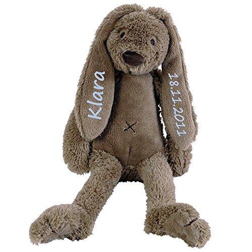Elefantasie Stofftier Hase mit Namen und Geburtsdatum personalisiert Geschenk 30cm braun Aufdruck blau