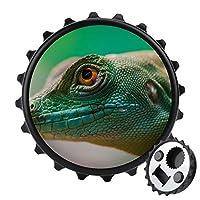 爬虫類のトカゲの黄色い目 冷蔵庫マグネット 磁気飾り物 磁気黒板用 ビール 強力マグネット栓抜き ボトルオープナー 丸型 多機能 おもしろい 冷蔵庫用