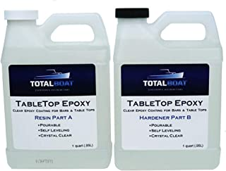 Crystal Clear Epoxy Resin | TotalBoat 2 Quart Epoxy Resin & Hardener Kit for Bar, Table Tops & Countertops | Pro Epoxy Coating for Wood, Concrete, Art