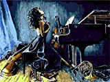 Pintar por Numeros Piano de niña de música DIY Cuadro al óleo con números para Kit de Pintura al óleo Digital para Adultos y niños de Lienzo decoración para el hogar 40x50cm Sin Marco