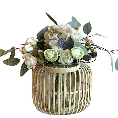 BOTANIC DESSIGN Ramo de Flor Artificial con Rosas JARRÓN Decorativo BAMBÚ Incluido Detalle Floral en Ramo de Flores Artificiales para decoración hogar. Centro de Flor Artificial de Rosas