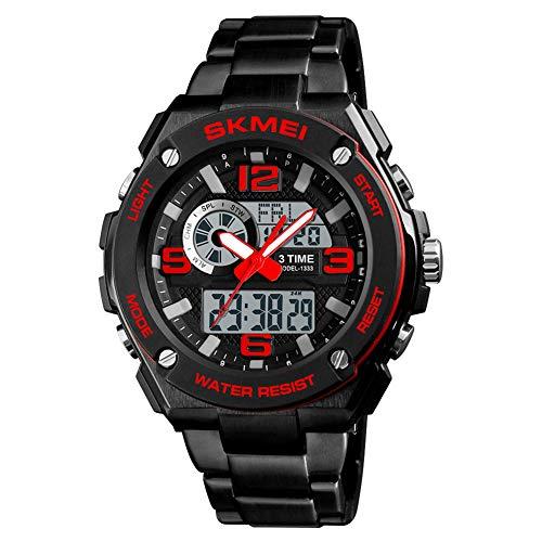YK WATCH Modestahlband mit elektronischer Uhr mit Doppelanzeige Herren Student 3-Mal Countdown Wecker Sportuhr,Red