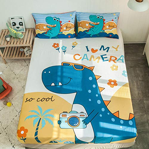 lhmlyl Mattress Protectorchildren'S Bed Lisa Single Piece 1.2M1.5 Cartoon 1.8M Bed Cotton Group Bed Cover Mattress Cover-Dinosaur Travels_120X200【Add A Pair Of Same Color Pillowcases】
