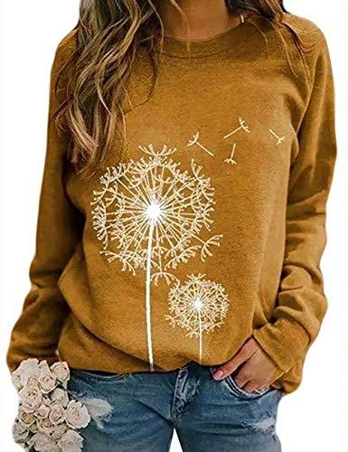 Damen Rundhals Sweatshirt Frauen Langarmshirt Bedrucktes Pullover Oberteil Tops Herbst Freizeit T-Shirt Bluse (P-Gelb, XL)