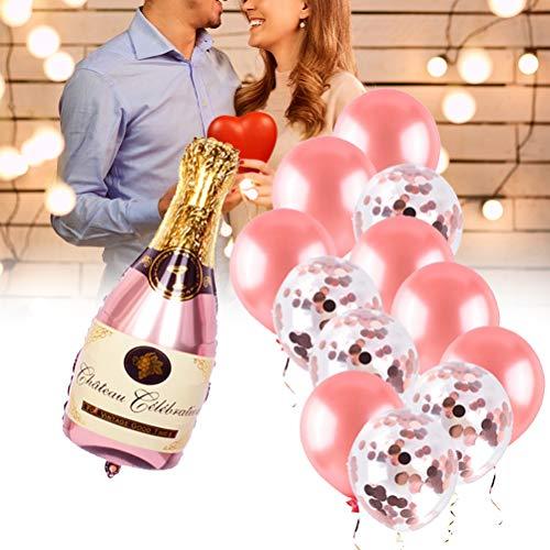AYily Kit de globos de botella de champán, botella de vino de champán, globo de oro rosa, reutilizable, ideal para boda, cumpleaños, novia, baby shower, decoración de fiesta de invierno
