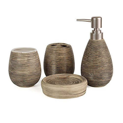 Juego de accesorios de baño de Asien, 4 piezas modernas: dispensador de jabón de cerámica, vaso, soporte para el cepillo de dientes y jabonera, cerámica, negro, Milieu