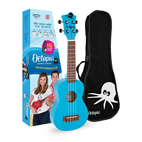 Octopus Ukelele soprano en azul claro completo