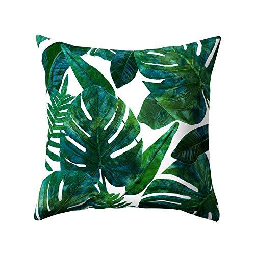 Federa per cuscino da 45x 45cm con stampa vegetale con cactus Opuntia o foglie verdi, per la decorazione della casa, Poliestere, 16#, 45 x 45 Centimeters