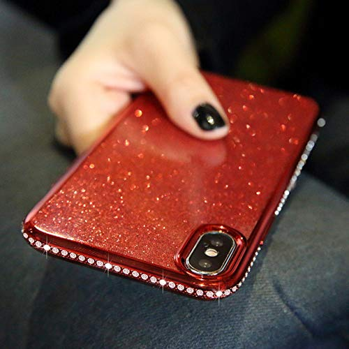 LIUYAWEI Estuche Brillante con Purpurina de Diamante para Redmi 9 8 8A 9A 9AT 9C NFC Note 9S 8T 8 9 Pro MAX Funda de TPU Suave, Rojo, para Redmi Note 8