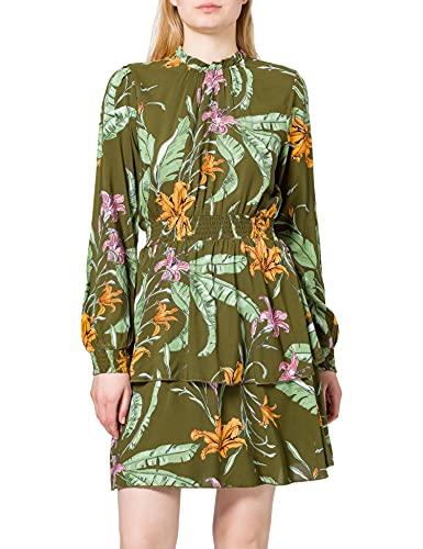 Only ONLPALM Life L/S Layered Dress WVN Vestido, Winter Moss/AOP:Wild Flowers, XL para Mujer