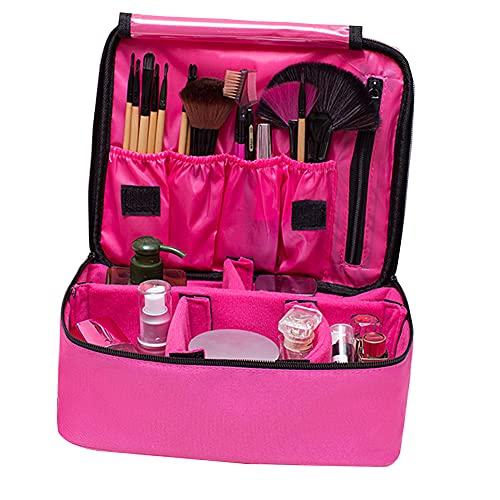Kisem Bolso de Cosméticos , Portable Kit de Maquillaje Neceser , ( Rosa ) Bolsa de Viaje Desmontable , 26x22x10 CM Portable Organizador Maletín para Maquillaje Maleta